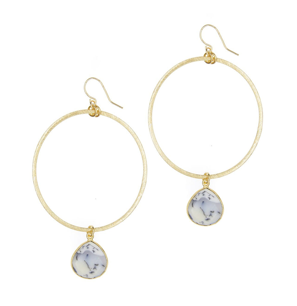 Firenze Dendritic Opal Hoops