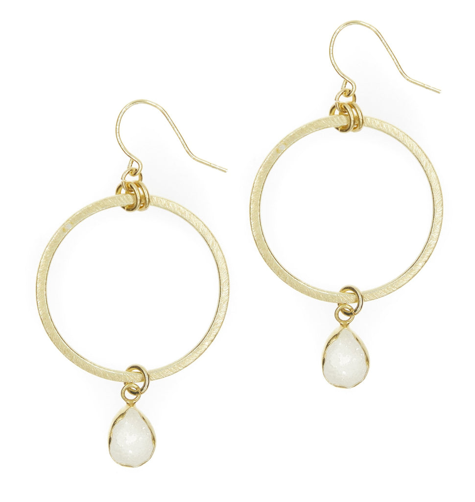 Firenze White Crystal Druzy Hoops
