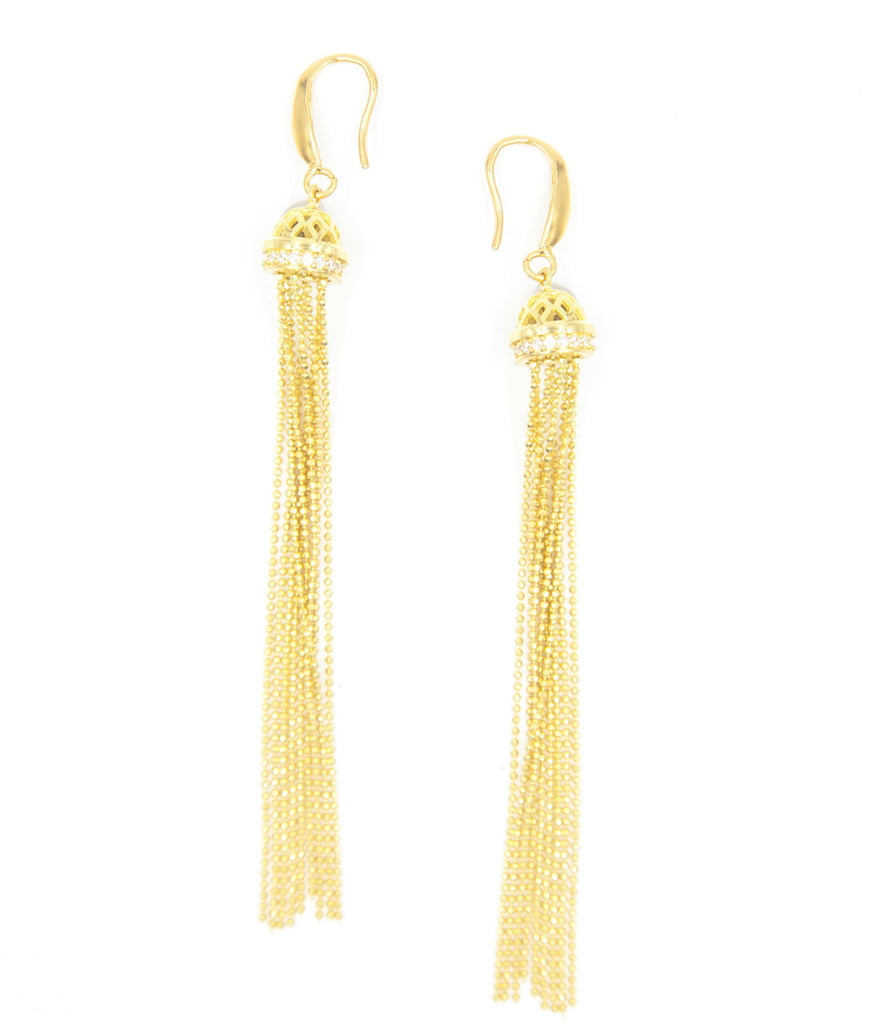 Gold Burlesque Tassel Earrings
