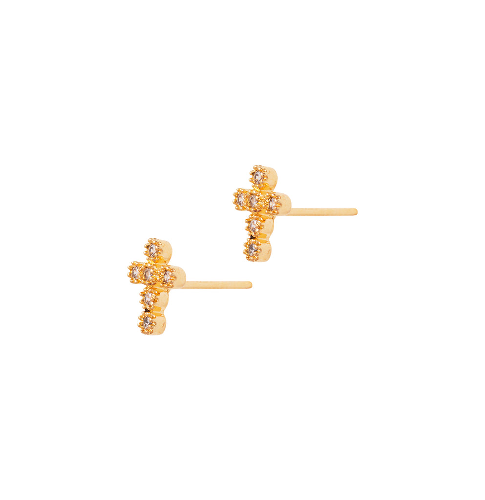 Religieux Pave Studs, Gold