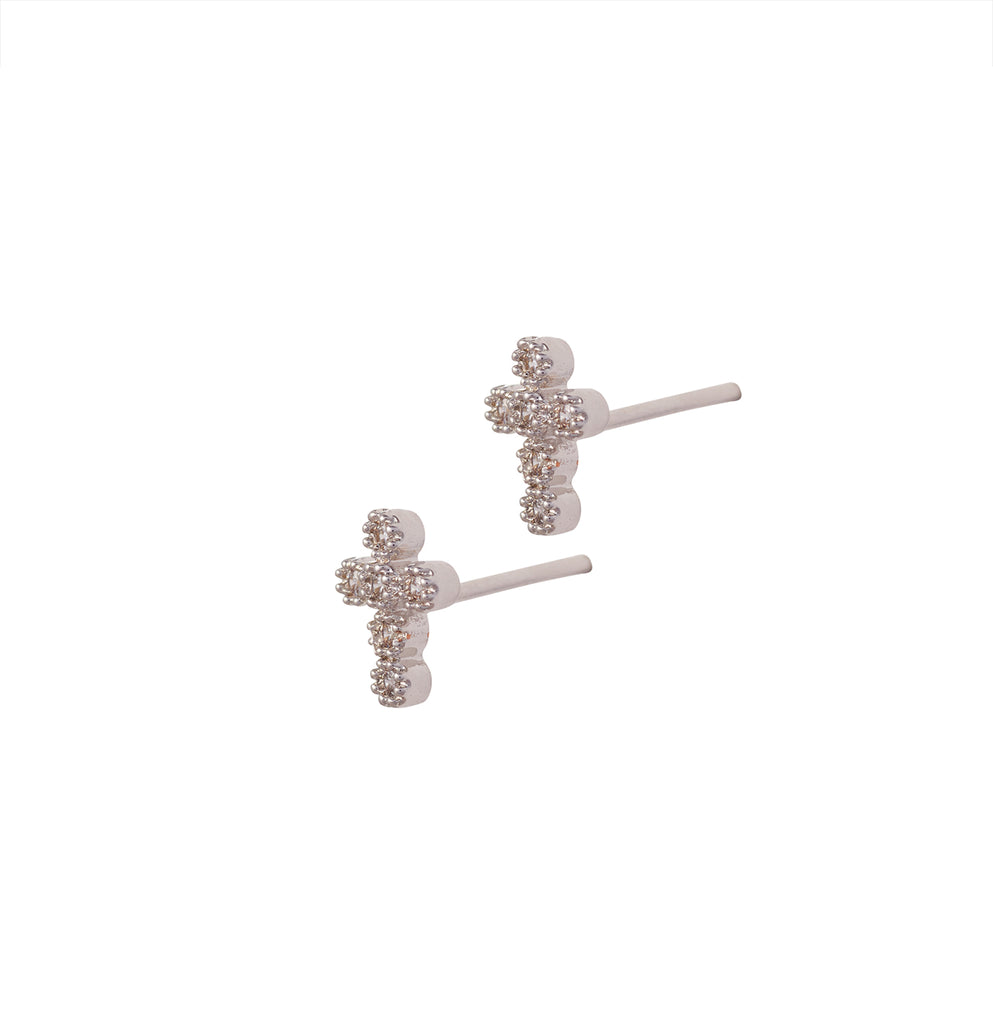 Religieux Pave Studs, Silver