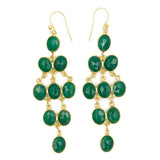 Rain Drop Chandelier Hook Earrings, Emerald