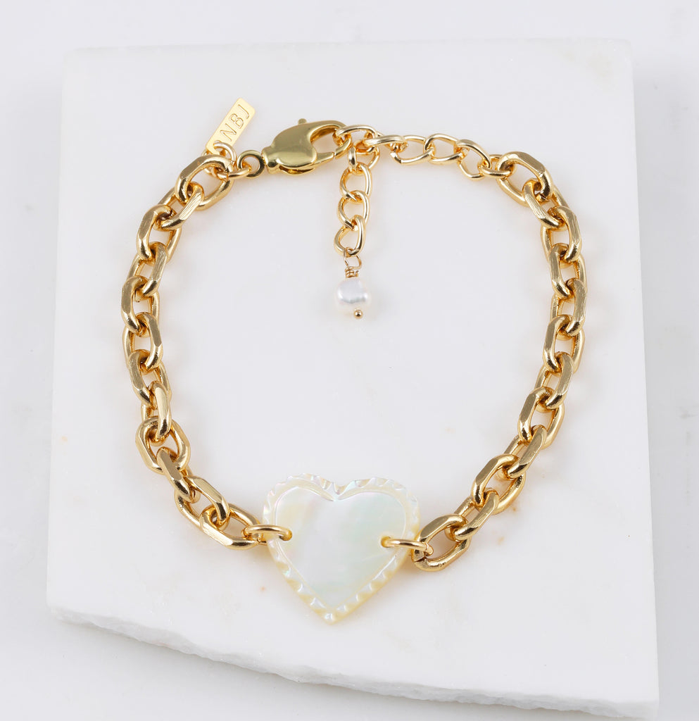 """Femi"" Vintage Mother of Pearl Heart Bracelet"