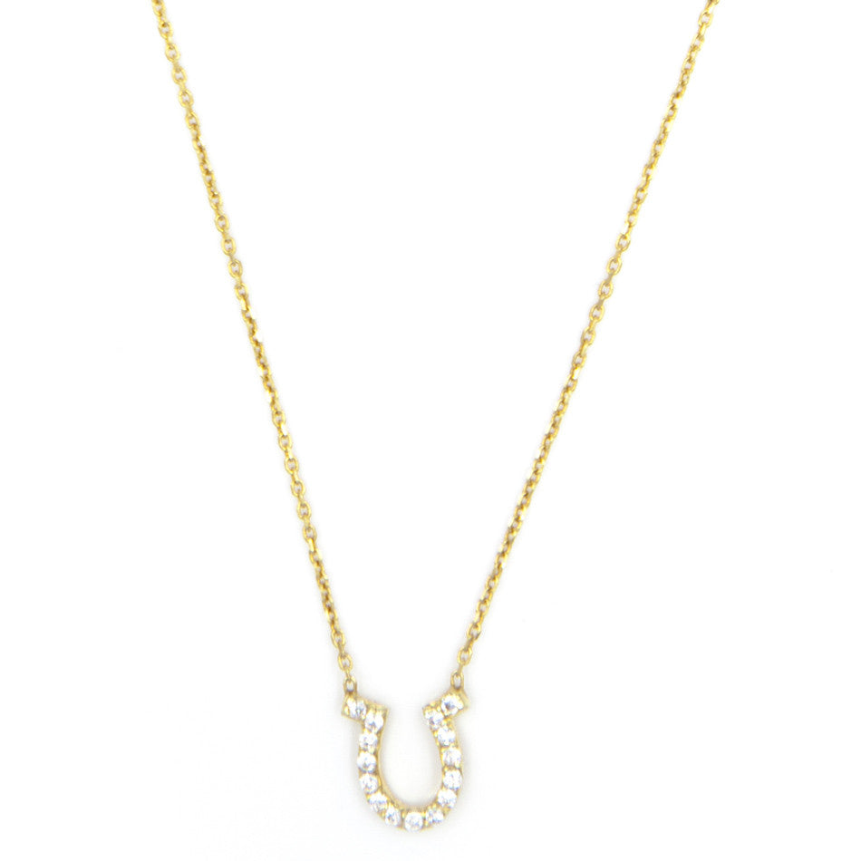 Pave Horseshoe Necklace, Gold