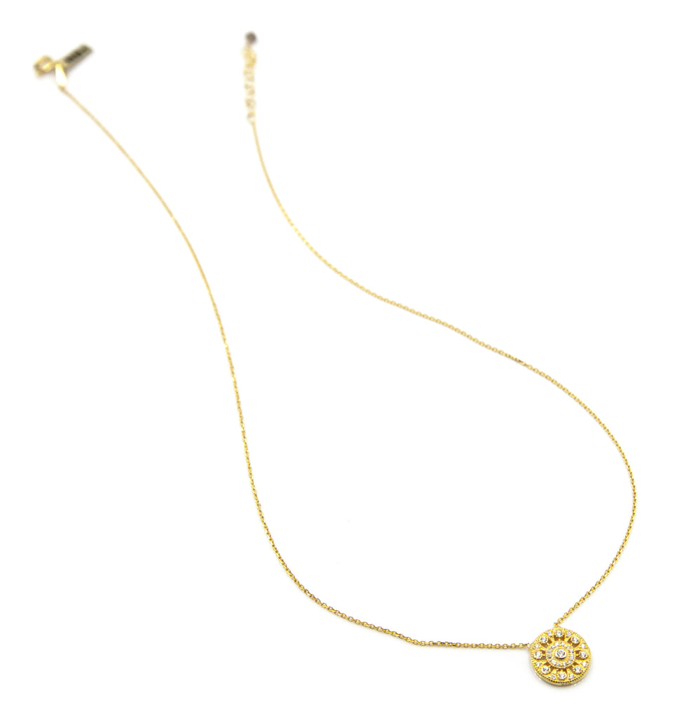 Pave Victorian Disc Necklace, Gold