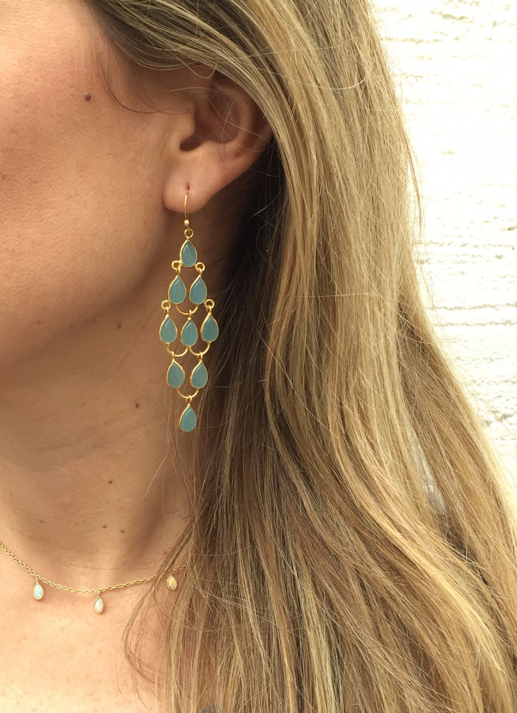Teardrop Chandelier Hook Earrings, Aqua Chalcedony