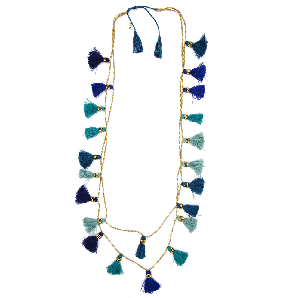 Dara Tassel Necklace, Blue