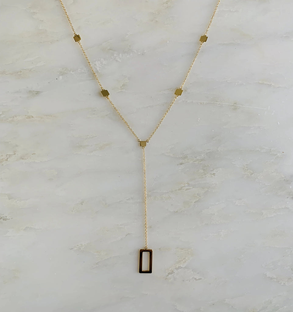 Corners Lariat Necklace, Gold
