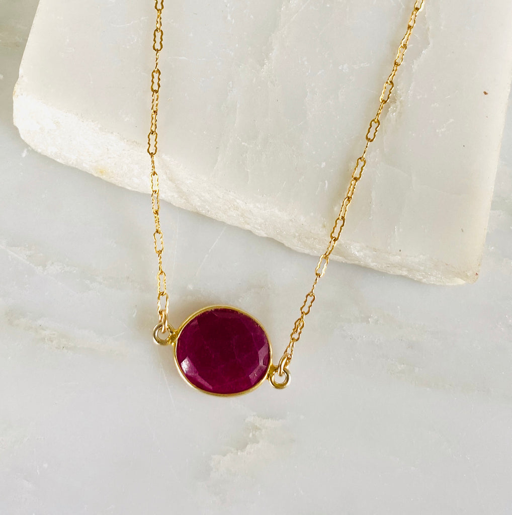 Stone Drop Necklace, Ruby