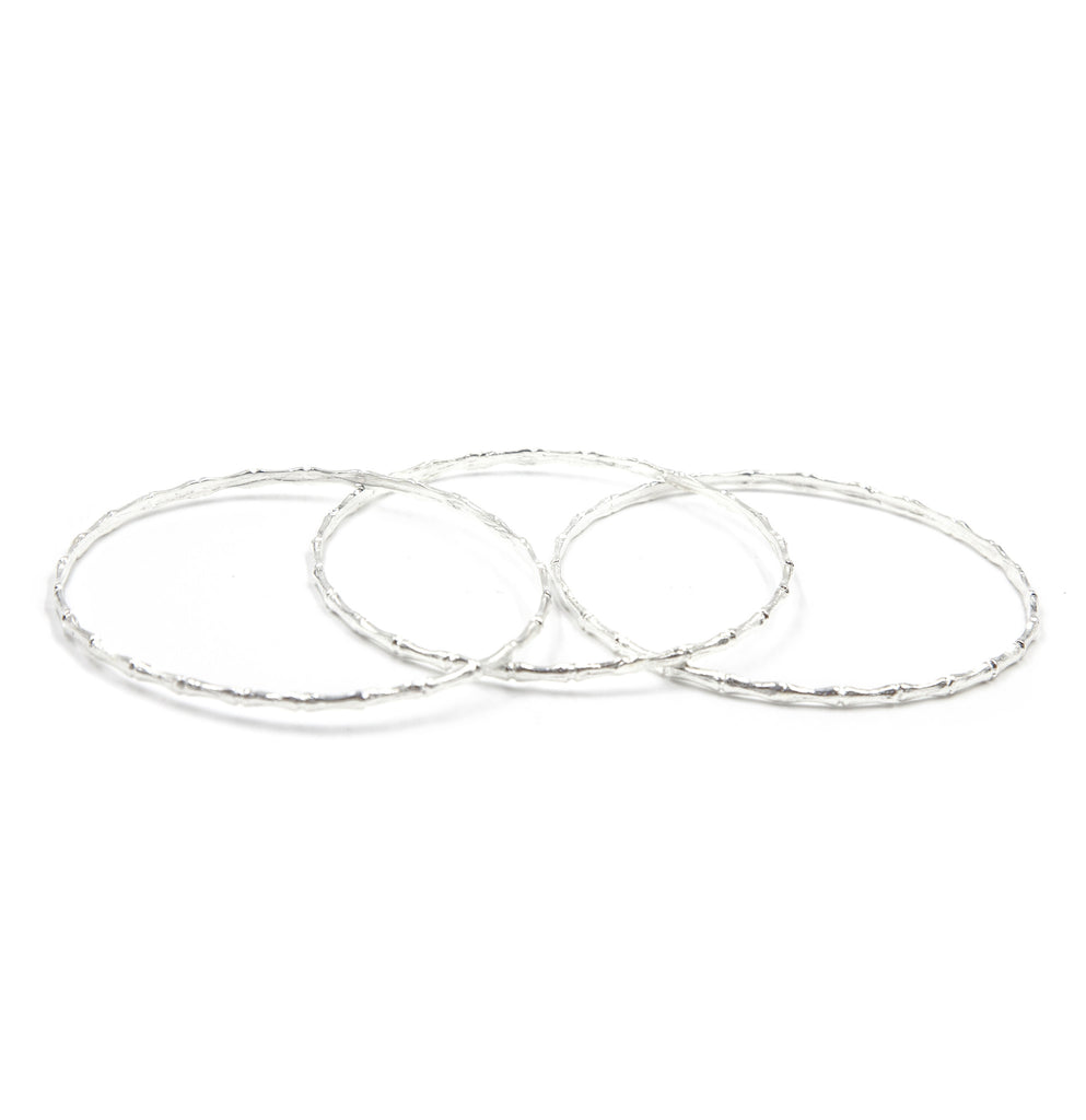 ReDone Vintage Inspired Bamboo Bangle Set, Silver