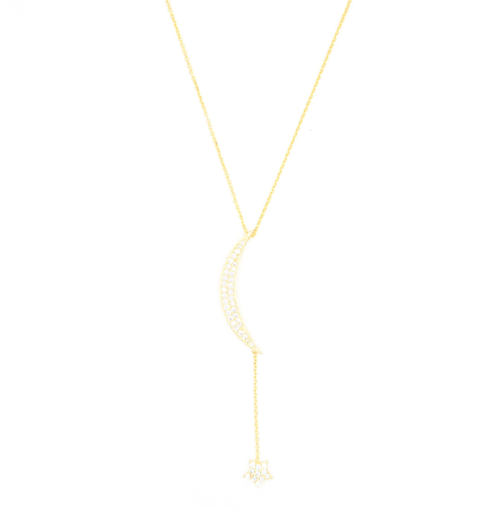 Large Pave Moon & Hanging Star Necklace, Gold