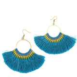 Lamai Tassel Fan Earrings, Turquoise