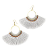 Lamai Tassel Fan Earrings, Grey