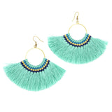 Lamai Tassel Fan Earrings, Mint