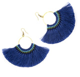 Lamai Tassel Fan Earrings, Royal Blue