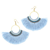 Lamai Tassel Fan Earrings, Sky Blue