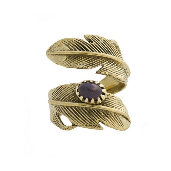 Light as a Feather Brass Ring, Amethyst