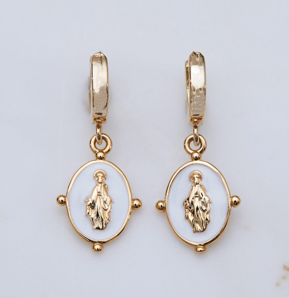 Lucia Earrings, White