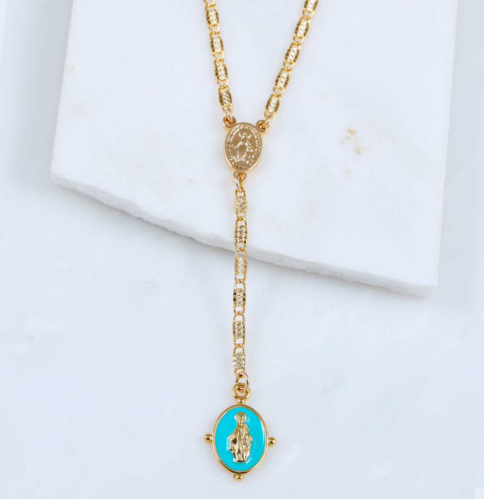 Lucia Rosary Lariat Necklace, Turquoise
