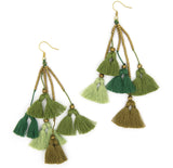 Dara Tassel Earrings, Verde