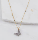 Mariposa, Rhodium Necklace