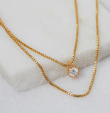 Clear CZ Birthstone Necklace