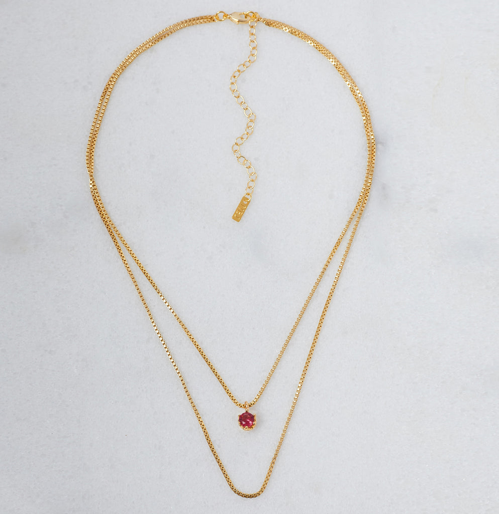 Rubellite Birthstone Necklace