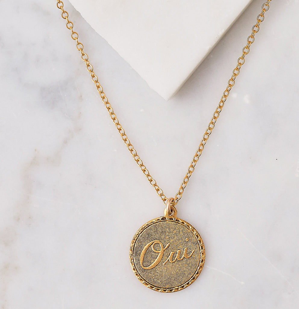 Oui Charm Necklace, Gold