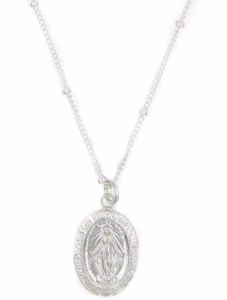 Mother Mary Charm Choker Silver