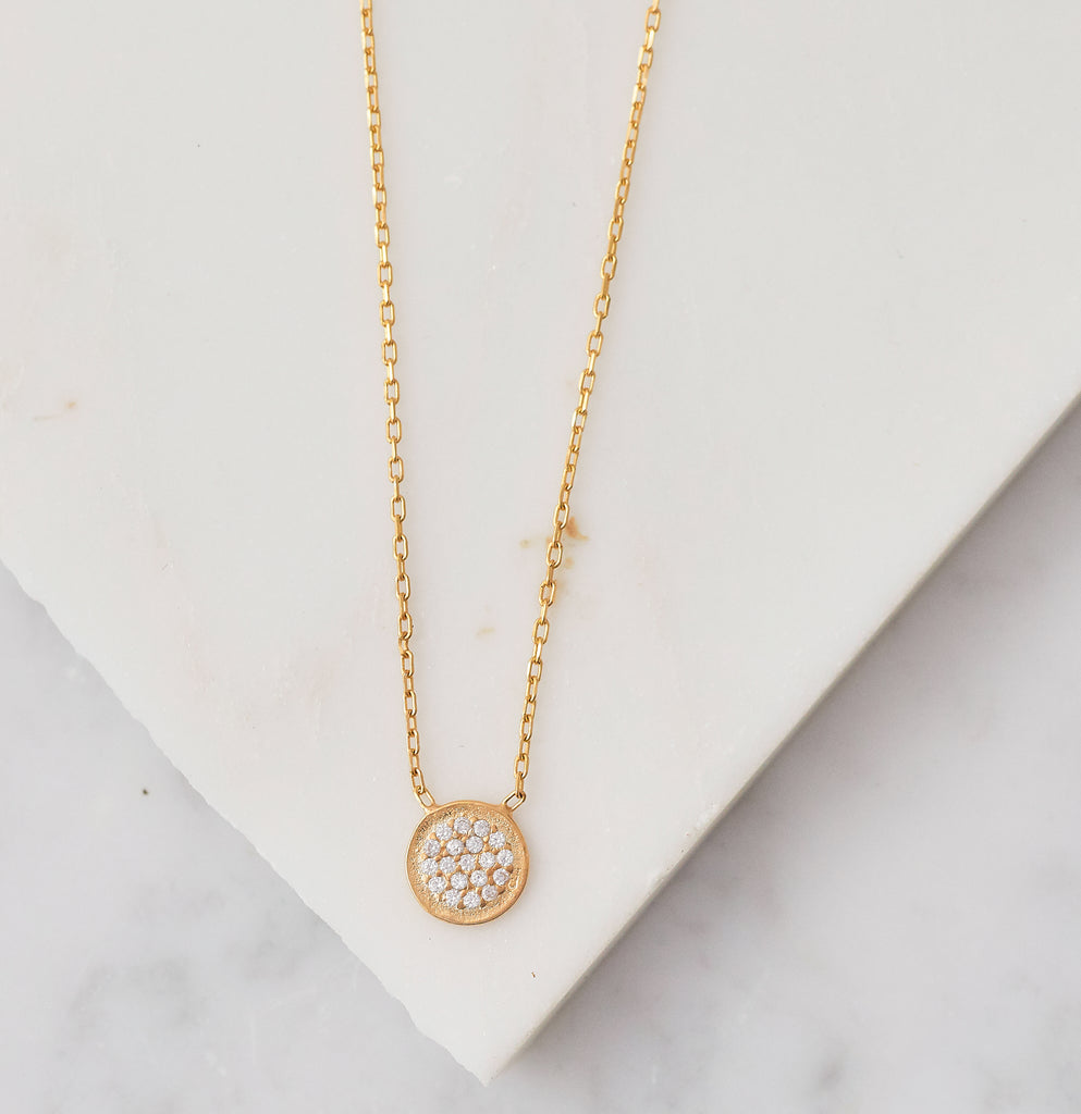 Pave Small Disc Necklace, Gold