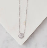 Pave Small Disc Necklace, Silver