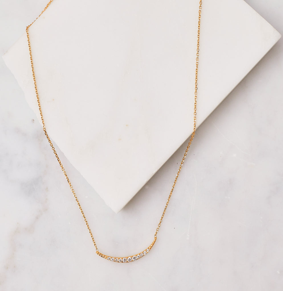 Pave Crescent Necklace, Gold