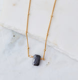 Stone Drop Choker, Black Cz