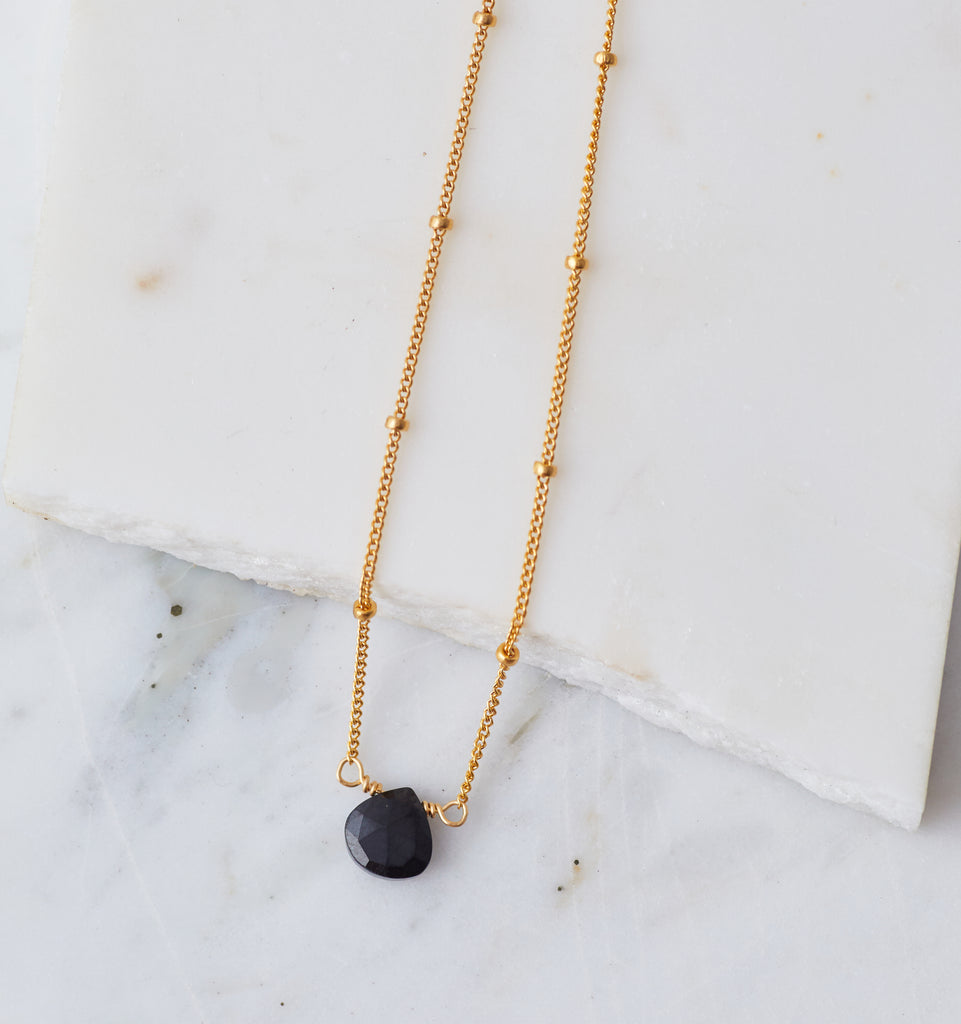 Stone Drop Choker, Black Spinel