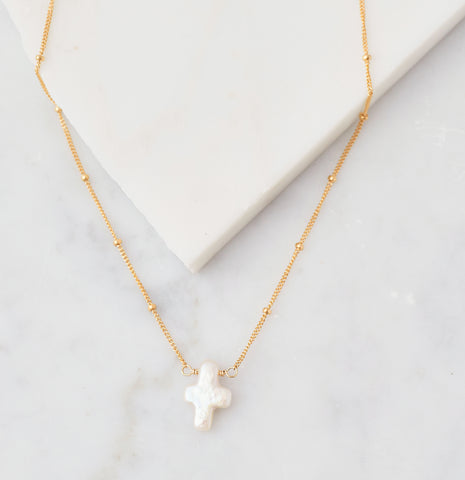 Stone Drop Necklace, Freshwater Pearl