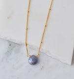 Stone Drop Choker, Mystic Denim Moonstone