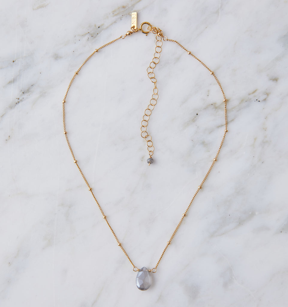 Stone Drop Choker, Mystic Grey Moonstone