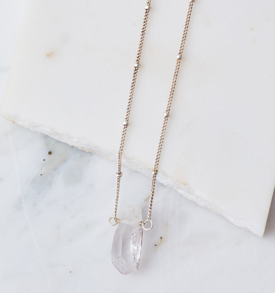 Silver Stone Drop Choker, Tourmalinated Quartz Crystal