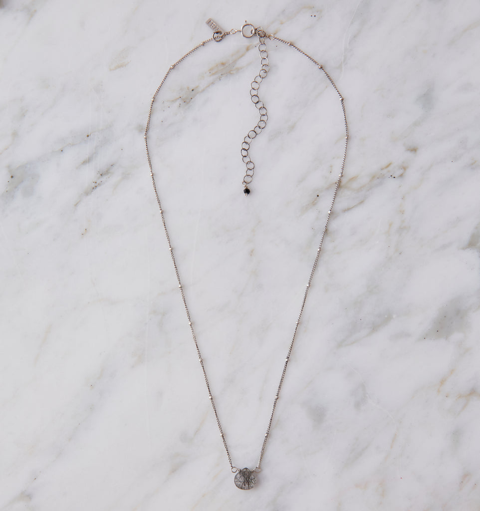 Silver Stone Drop Choker, Tourmalinated Quartz