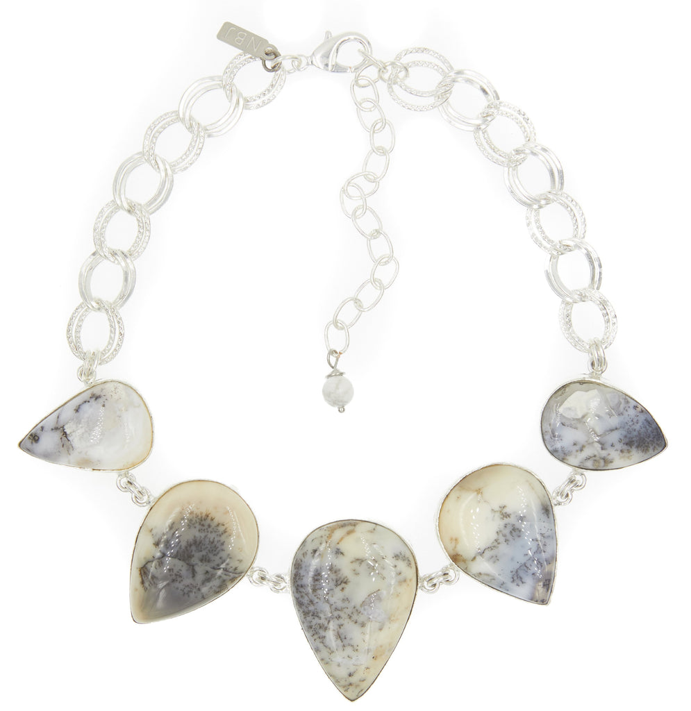 Earth's Treasure Choker, Dendritic Opal Teardrop Stone