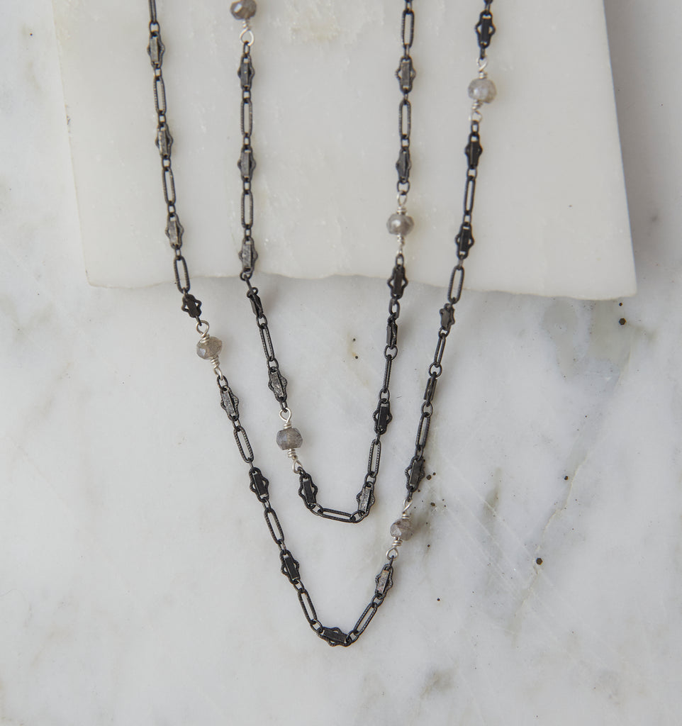 Baby Boho Layering Necklace, Oxidized Silver on Silver with Labradorite