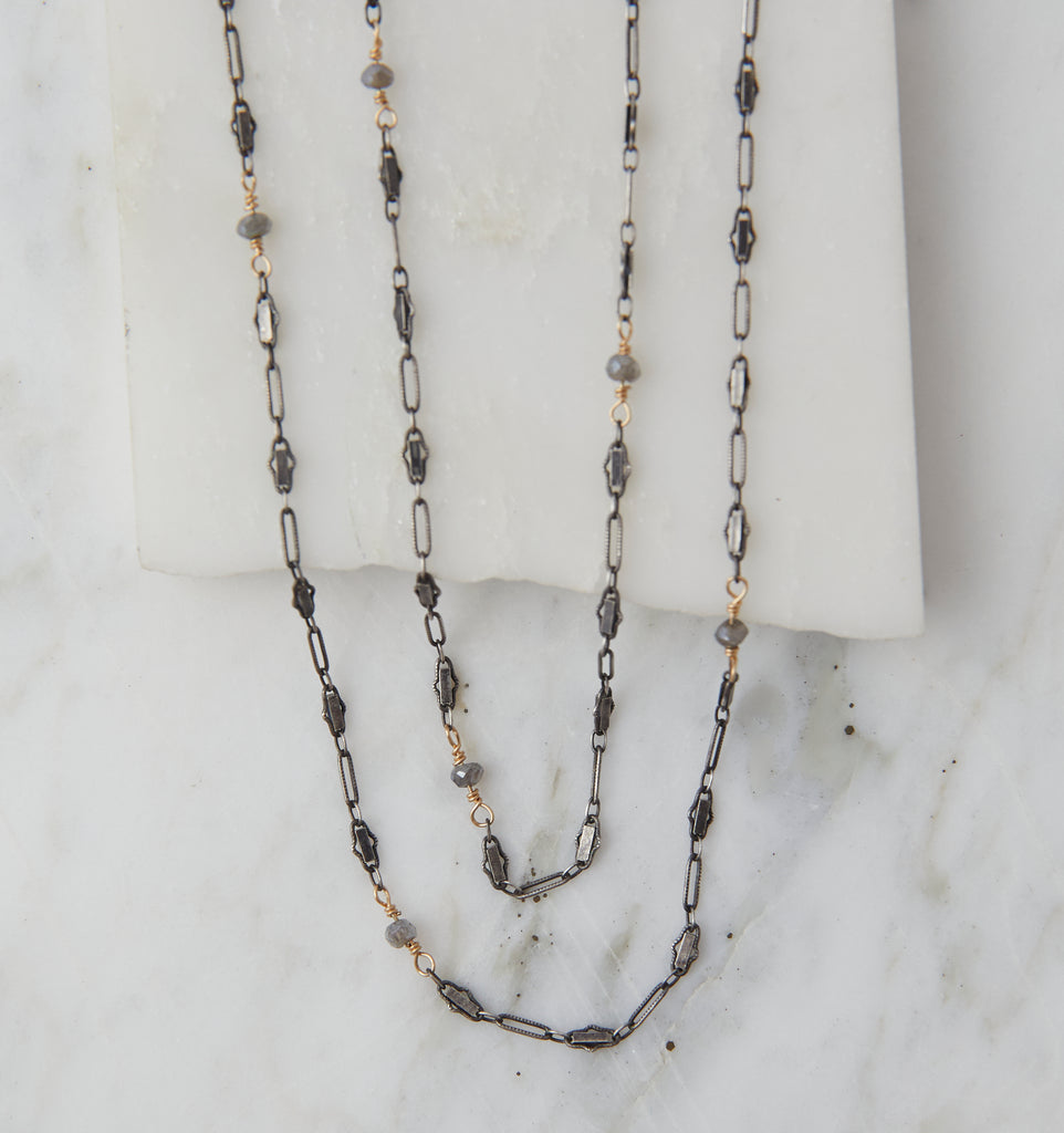 Baby Boho, Oxidized Silver & Gold with Labradorite