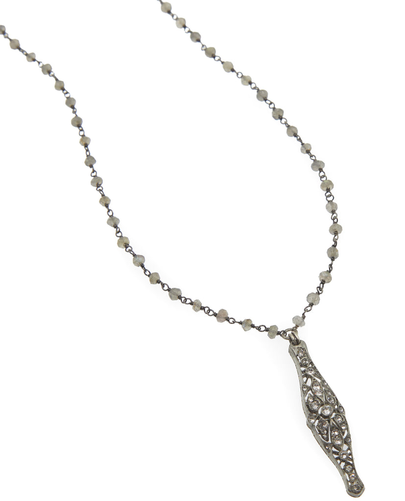 Annalise Vintage Pave Bar Necklace