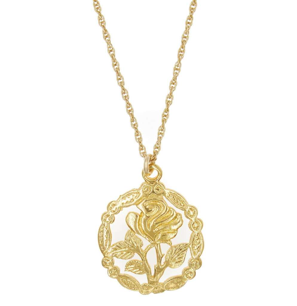 Rose Necklace in Metallic Gold Natalie B Jewelry Sc3vLhgK