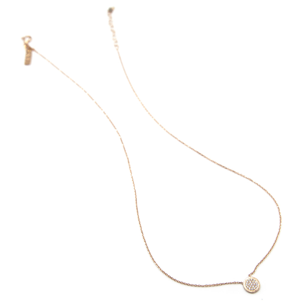 Pave Small Disc Necklace, Rose Gold