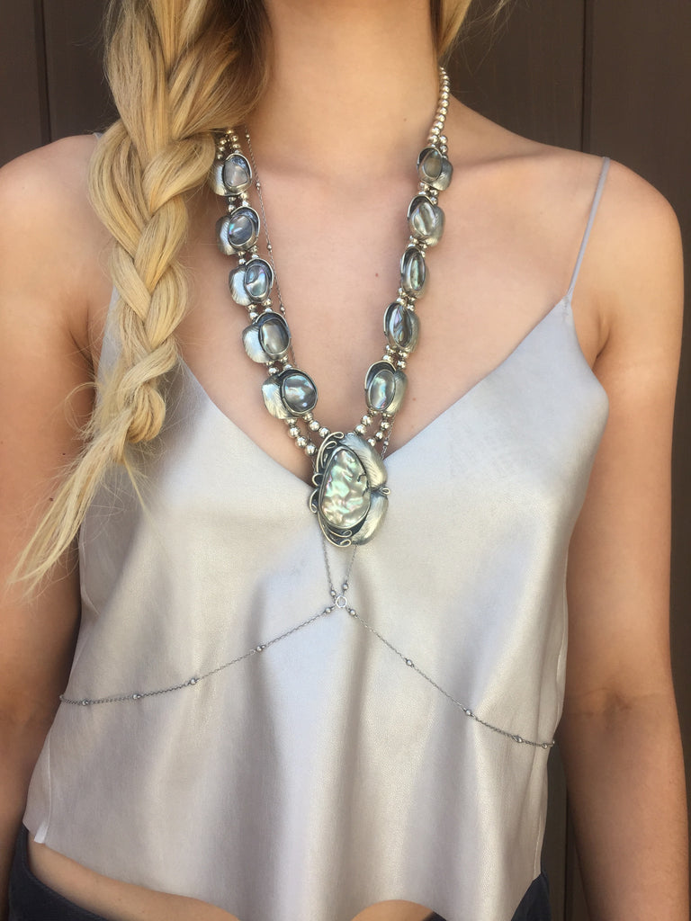 Two Raven Long Necklace, Abalone