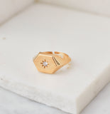Star Gazer Signet Ring, Gold