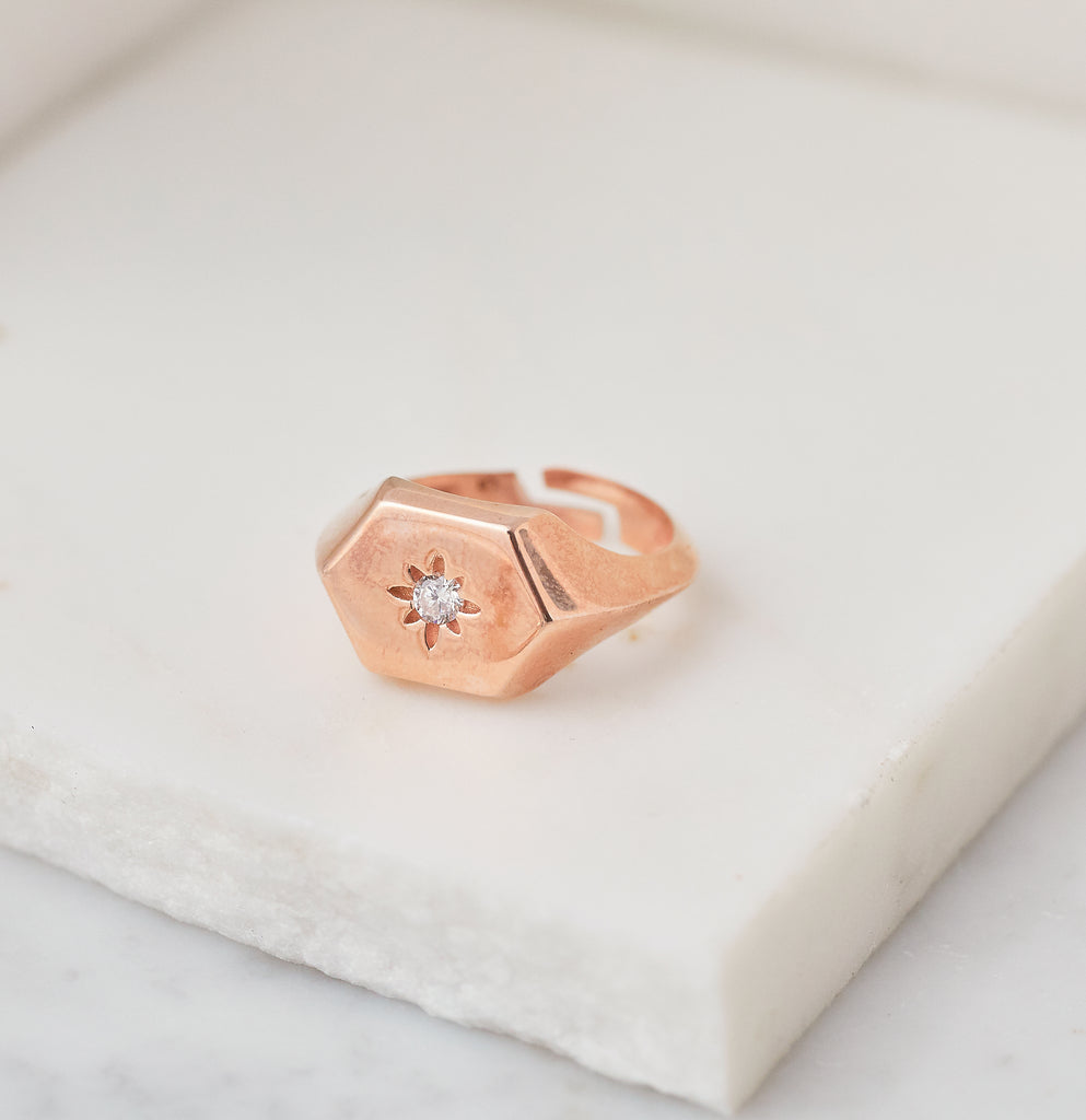 Star Gazer Signet Ring, Rose Gold