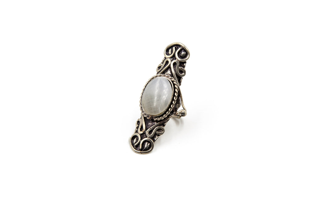 Fancy Peruvian Ring, White Bolivian Opal