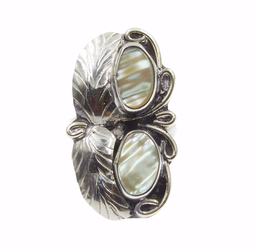 Two Raven Two Stone Ring, Abalone
